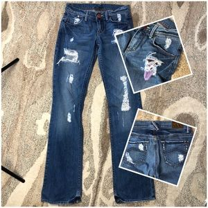 Armani Exchange Destroyed Boot Cut Jeans